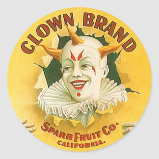 Vintage Advertising Clown Brand Fruit Sparr Co. Round Sticker