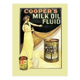Vintage advertising, Cooper's milk oil fluid Postcards