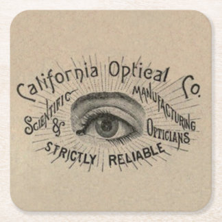 Vintage Advertising Eye Optical Square Paper Coaster