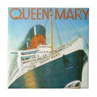 Vintage advertising, RMS Queen Mary Small Square Tile