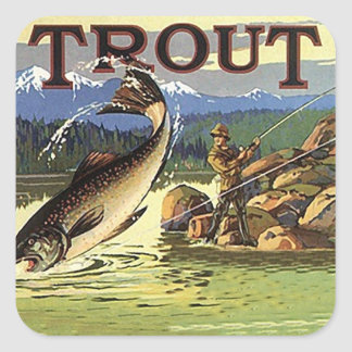 Vintage Advertising Trout Stream Fishing Fisherman Square Sticker