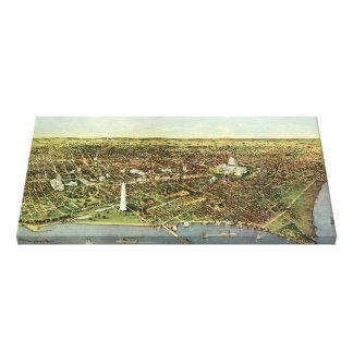 Vintage Aerial Antique City Map of Washington DC Stretched Canvas Prints