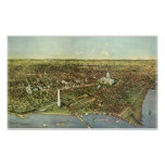 Vintage Aerial Antique City Map of Washington DC Poster