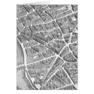 Vintage Aerial Paris Map Card