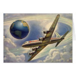 Vintage Aeroplane Flying Around the World in Cloud Greeting Cards