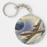 Vintage Aeroplane Flying Around the World in Basic Round Button Key Ring