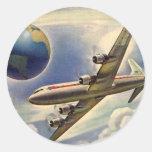 Vintage Aeroplane Flying Around the World in Round Stickers