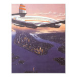 Vintage Aeroplane over Hudson River, New York City Personalized Announcements