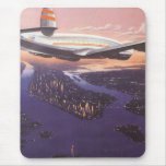 Vintage Aeroplane over Hudson River, New York City Mouse Pad
