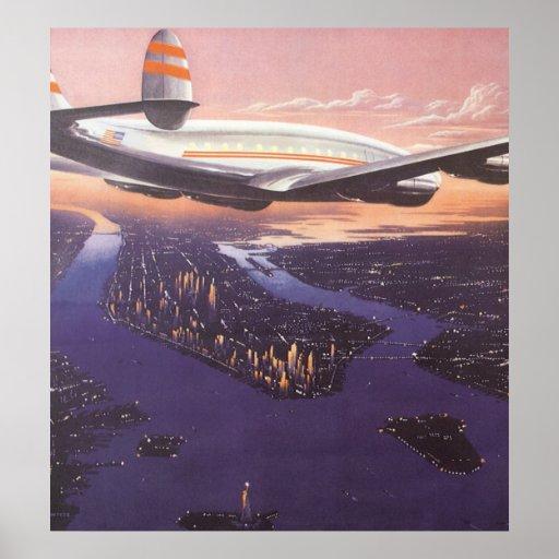 Vintage Aeroplane over Hudson River, New York City Poster