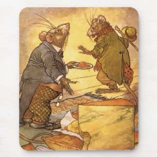 Vintage Aesop's Fable, Country Mouse, City Mouse Mouse Pads