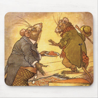 Vintage Aesop's Fable, Country Mouse, City Mouse Mousepad