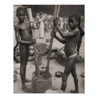 Vintage africa, African boys working Poster