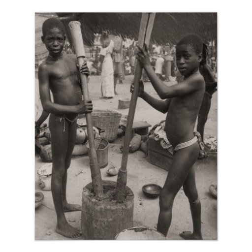 Vintage africa, African boys working Posters