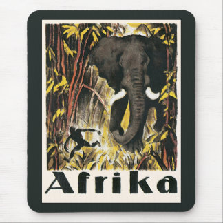Vintage Africa Travel Poster, African Elephant Mouse Pad