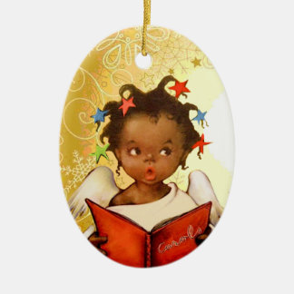 Vintage African American Angel Christmas Ornament