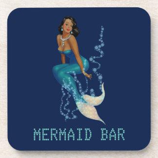 Vintage African American Pinup Mermaid in Diamonds Coaster