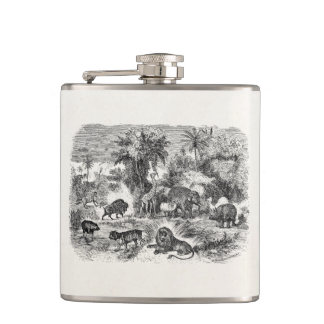 Vintage African Animals Giraffe Elephant Lion Hog Hip Flask