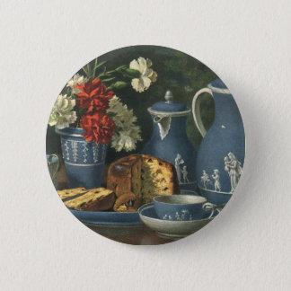 Vintage Afternoon Coffee, Cake, Tea and Flowers 6 Cm Round Badge