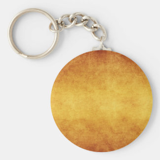 Vintage Aged Amber Burnt Umber Parchment Paper Basic Round Button Key Ring