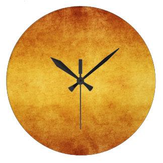 Vintage Aged Amber Burnt Umber Parchment Paper Large Clock