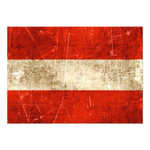 Vintage Aged and Scratched Flag of Austria Custom Announcements