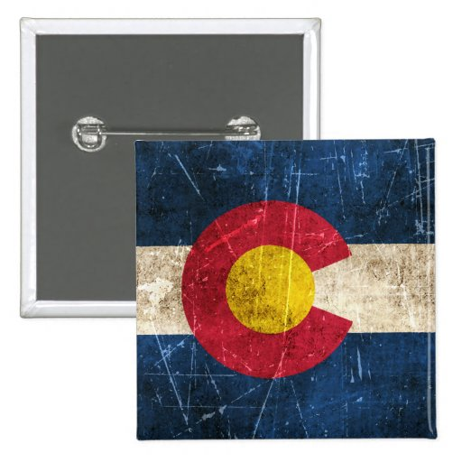 Vintage Aged and Scratched Flag of Colorado Button