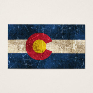 Vintage Aged and Scratched Flag of Colorado Business Card