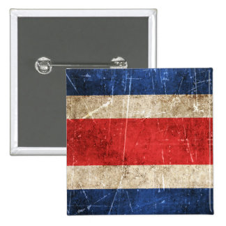 Vintage Aged and Scratched Flag of Costa Rica Pinback Buttons