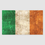 Vintage Aged and Scratched Flag of Ireland Rectangular Sticker
