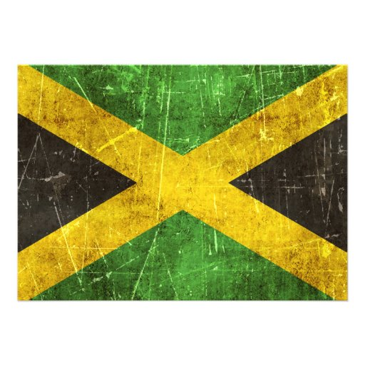 Vintage Aged and Scratched Flag of Jamaica Personalized Invites