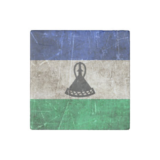 Vintage Aged and Scratched Flag of Lesotho Stone Magnet