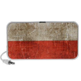 Vintage Aged and Scratched Flag of Poland Portable Speakers