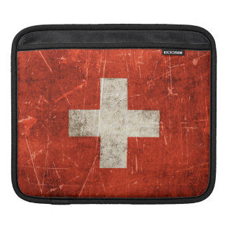 Vintage Aged and Scratched Flag of Switzerland Sleeve For iPads