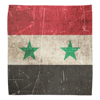 Vintage Aged and Scratched Flag of Syria Bandana