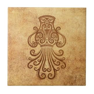 Vintage Aged Aquarius Zodiac Ceramic Tile