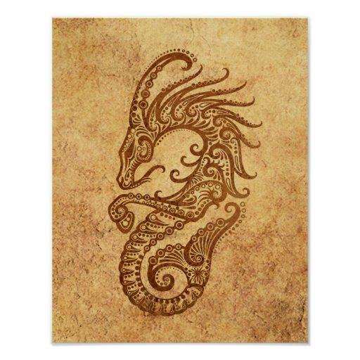 Vintage Aged Capricorn Zodiac Poster