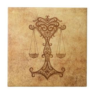Vintage Aged Libra Zodiac Tile