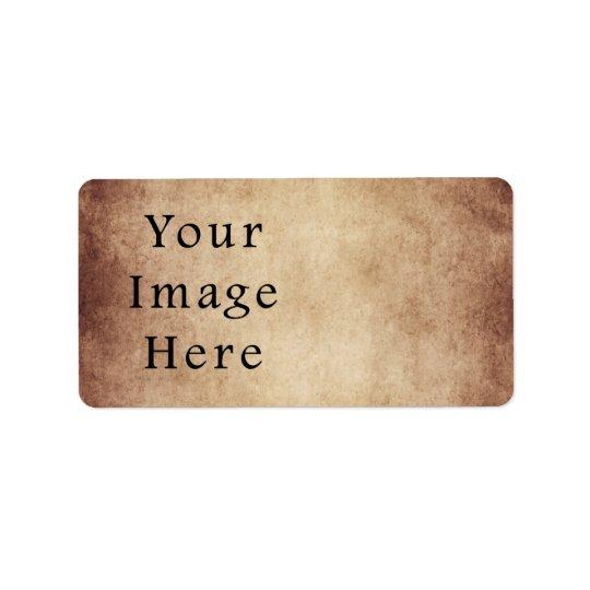 Vintage Aged Light Dark Brown Parchment Paper Address Label