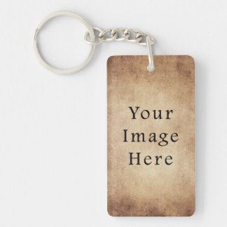 Vintage Aged Light Dark Brown Parchment Paper Single-Sided Rectangular Acrylic Key Ring