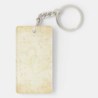 Vintage Aged Paper Wedding Double-Sided Rectangular Acrylic Key Ring