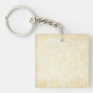 Vintage Aged Paper Wedding Single-Sided Square Acrylic Key Ring