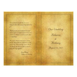 Vintage Aged Parchment Look Wedding Program Flyer