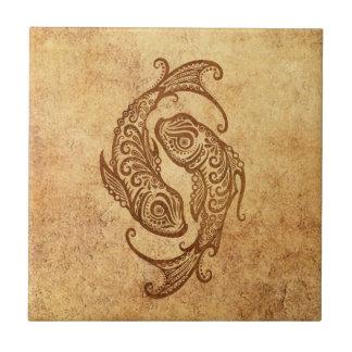 Vintage Aged Pisces Zodiac Tile
