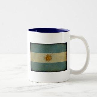 Vintage aged retro Argentina flag Two-Tone Coffee Mug