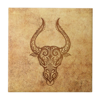 Vintage Aged Taurus Zodiac Ceramic Tile