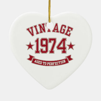 Vintage Aged to Perfection 1974 Ceramic Heart Decoration