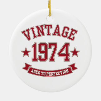 Vintage Aged to Perfection 1974 Round Ceramic Decoration