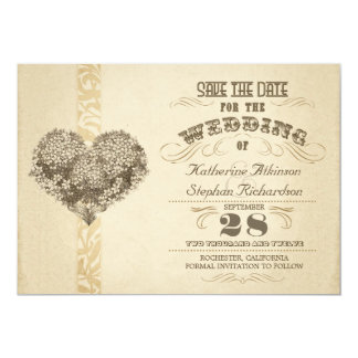 vintage aged typographic save the date 13 cm x 18 cm invitation card