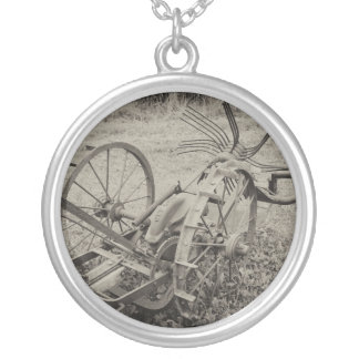 Vintage agricultural machine silver plated necklace
